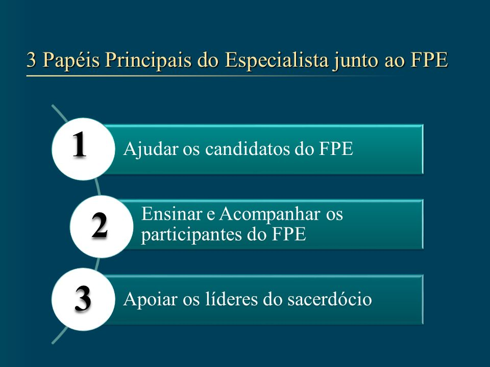 Apoiar os Líderes do Sacerdócio 3 Ajudar os Líderes a examinar o relatório mensal do FPE e relatar o que você tem feito Agir com base no relatório do FPE Ajudá-los no treinamento anual do FPE aos bispos