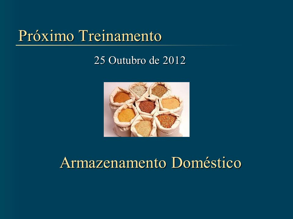 Próximo Treinamento 25 Outubro de 2012 Armazenamento Doméstico