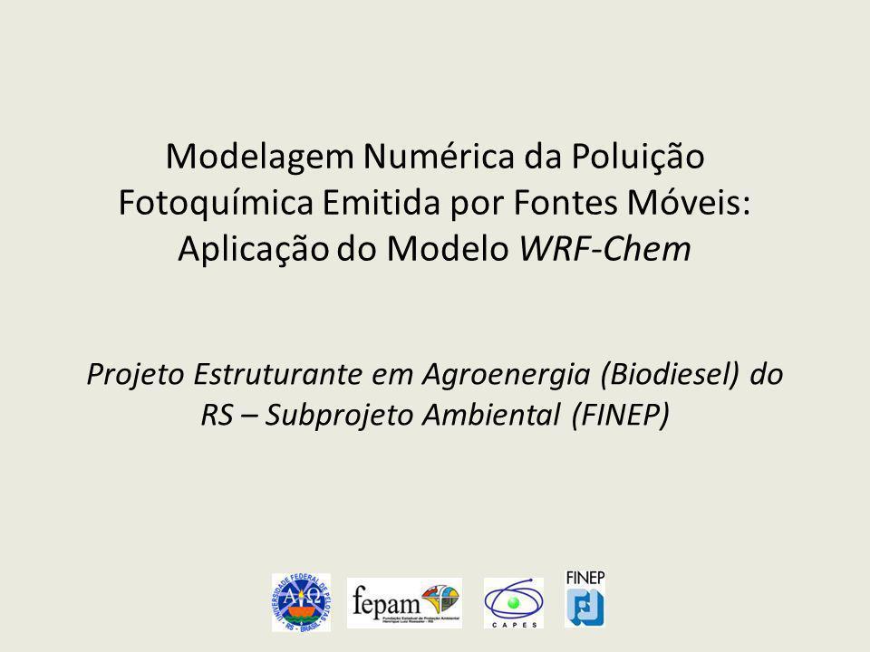 Objetivo do Projeto Estudar o comportamento das concentrações de ozônio (O 3 ) de superfície na Região Metropolitana de Porto Alegre (RMPA), através de simulações numéricas.