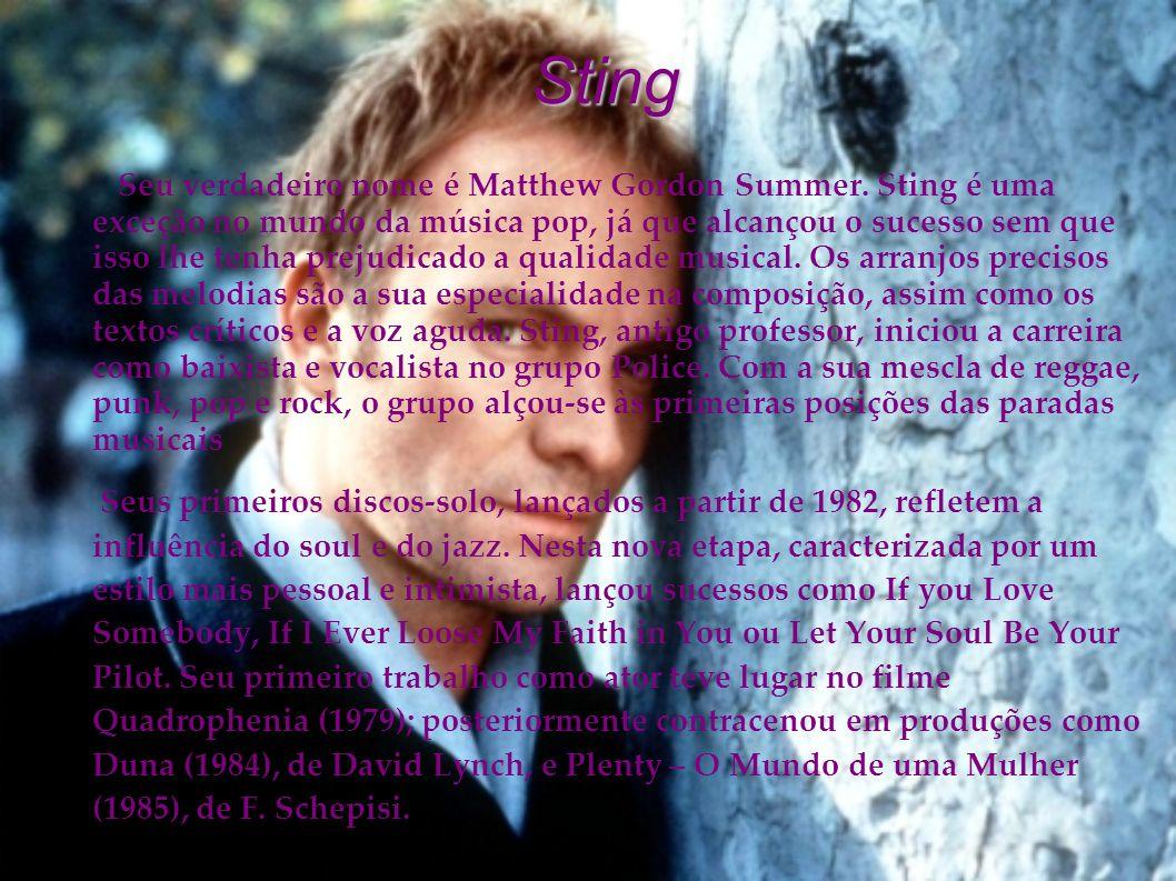 Sting Seu verdadeiro nome é Matthew Gordon Summer. Sting é uma exceção no mundo da música pop, já que alcançou o sucesso sem que isso lhe tenha prejud