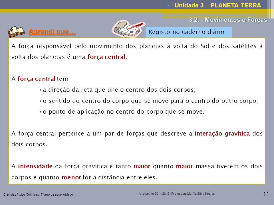 Ciências Físico-Químicas | 7º ano de escolaridade Ano Letivo 2011/2012 | Professora Marília Silva Soares 11 Unidade 3 – PLANETA TERRA Aprendi que… Reg