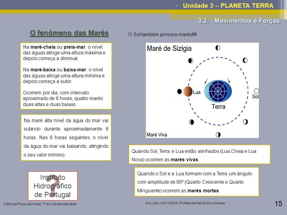 Ciências Físico-Químicas | 7º ano de escolaridade Ano Letivo 2011/2012 | Professora Marília Silva Soares 15 Unidade 3 – PLANETA TERRA O fenómeno das M