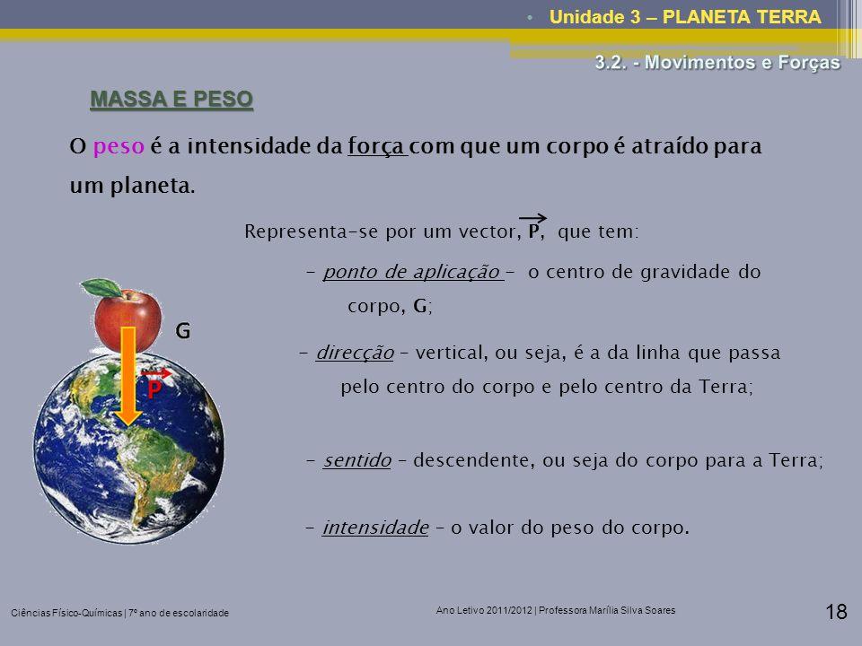 Ciências Físico-Químicas | 7º ano de escolaridade Ano Letivo 2011/2012 | Professora Marília Silva Soares 18 Unidade 3 – PLANETA TERRA MASSA E PESO O p