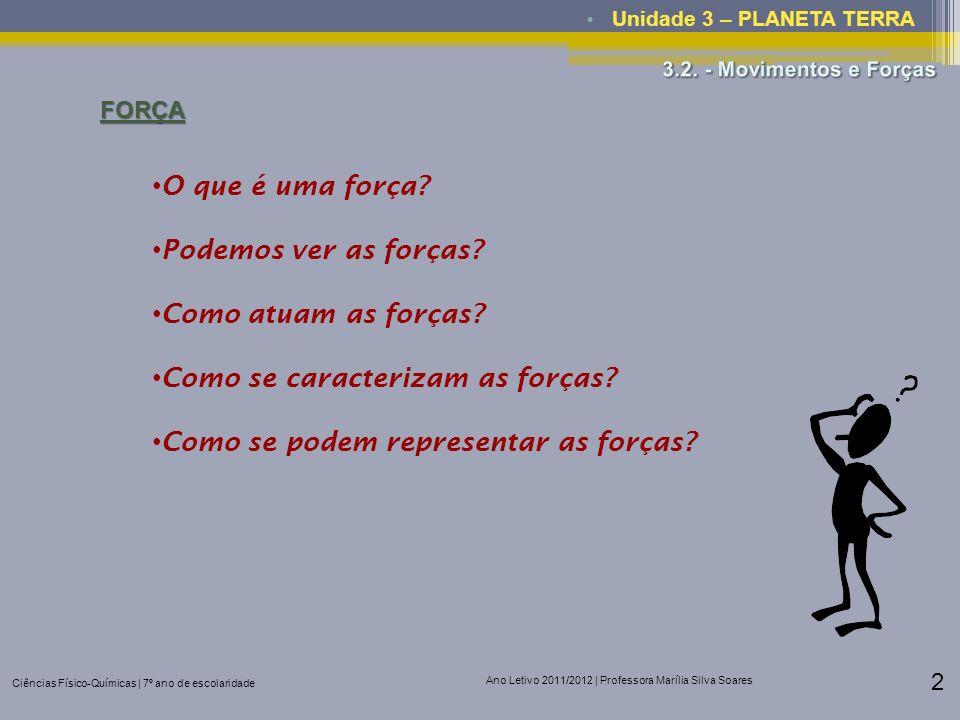 Ciências Físico-Químicas | 7º ano de escolaridade Ano Letivo 2011/2012 | Professora Marília Silva Soares 2 Unidade 3 – PLANETA TERRAFORÇA O que é uma