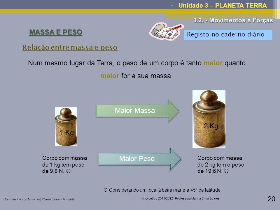 Ciências Físico-Químicas | 7º ano de escolaridade Ano Letivo 2011/2012 | Professora Marília Silva Soares 20 Unidade 3 – PLANETA TERRA MASSA E PESO Rel