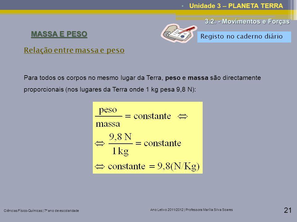 Ciências Físico-Químicas | 7º ano de escolaridade Ano Letivo 2011/2012 | Professora Marília Silva Soares 21 Unidade 3 – PLANETA TERRA MASSA E PESO Par