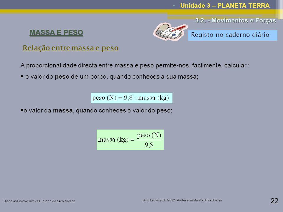 Ciências Físico-Químicas | 7º ano de escolaridade Ano Letivo 2011/2012 | Professora Marília Silva Soares 22 Unidade 3 – PLANETA TERRA MASSA E PESO A p