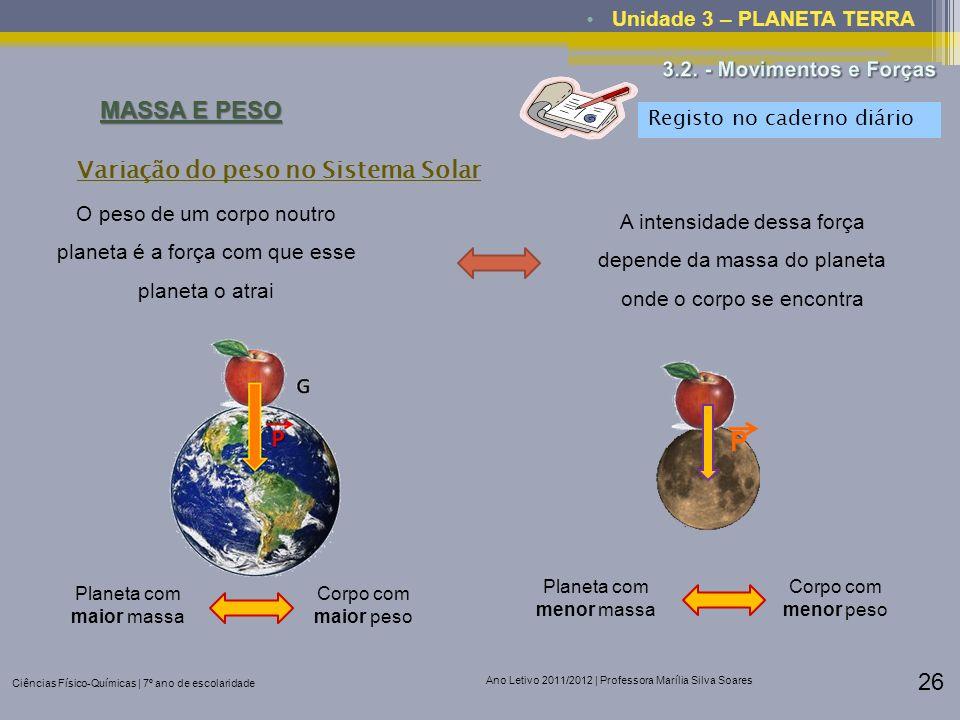 Ciências Físico-Químicas | 7º ano de escolaridade Ano Letivo 2011/2012 | Professora Marília Silva Soares 26 Unidade 3 – PLANETA TERRA MASSA E PESO Var