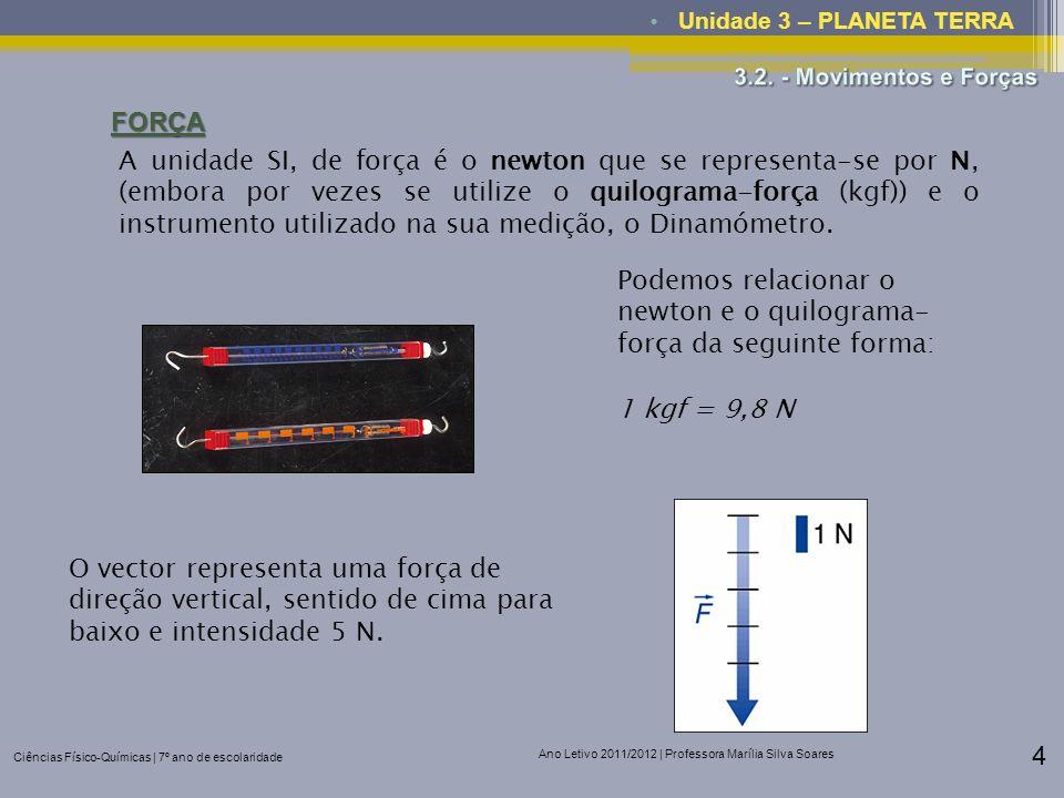 Ciências Físico-Químicas | 7º ano de escolaridade Ano Letivo 2011/2012 | Professora Marília Silva Soares 4 Unidade 3 – PLANETA TERRAFORÇA A unidade SI