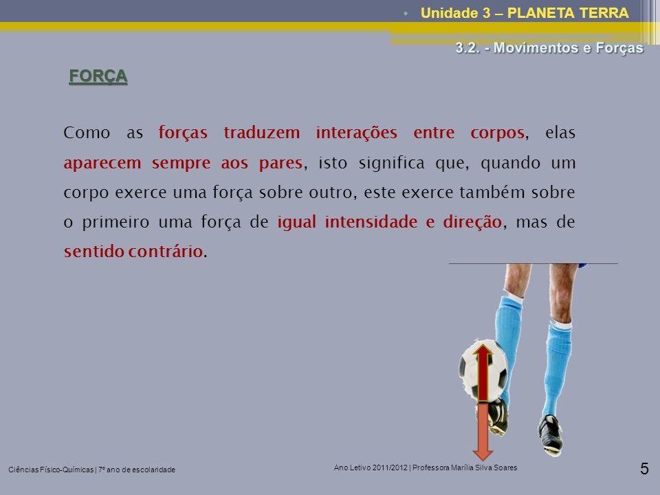 Ciências Físico-Químicas | 7º ano de escolaridade Ano Letivo 2011/2012 | Professora Marília Silva Soares 5 Unidade 3 – PLANETA TERRAFORÇA Como as forç