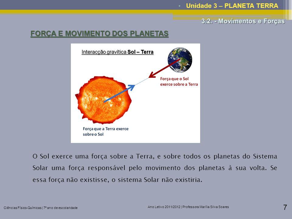 Ciências Físico-Químicas | 7º ano de escolaridade Ano Letivo 2011/2012 | Professora Marília Silva Soares 7 Unidade 3 – PLANETA TERRA FORÇA E MOVIMENTO