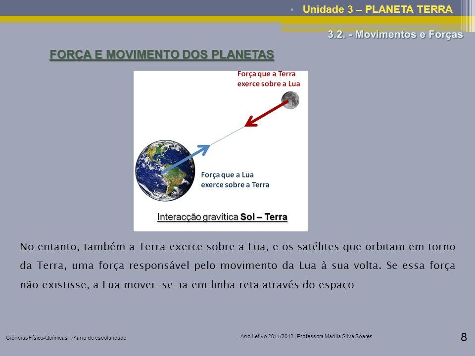 Ciências Físico-Químicas | 7º ano de escolaridade Ano Letivo 2011/2012 | Professora Marília Silva Soares 8 Unidade 3 – PLANETA TERRA FORÇA E MOVIMENTO