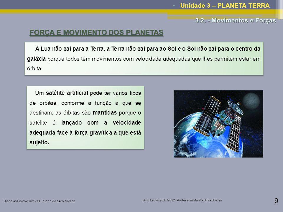 Ciências Físico-Químicas | 7º ano de escolaridade Ano Letivo 2011/2012 | Professora Marília Silva Soares 9 Unidade 3 – PLANETA TERRA FORÇA E MOVIMENTO