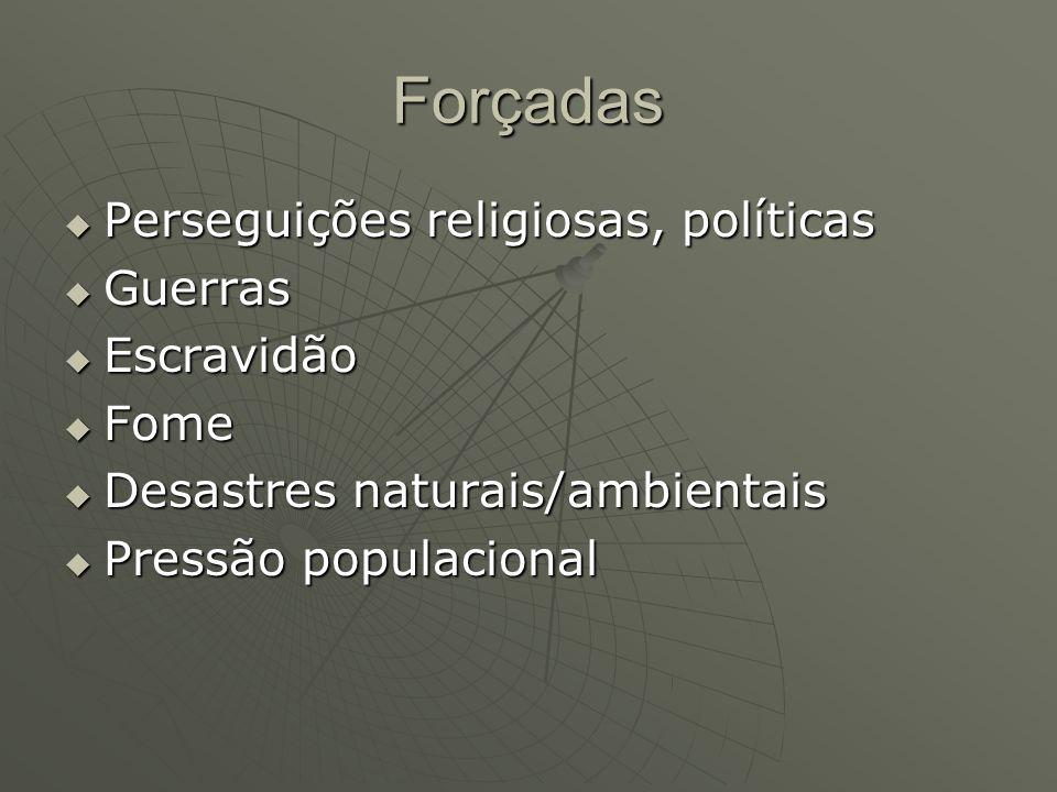 Forçadas Perseguições religiosas, políticas Perseguições religiosas, políticas Guerras Guerras Escravidão Escravidão Fome Fome Desastres naturais/ambi