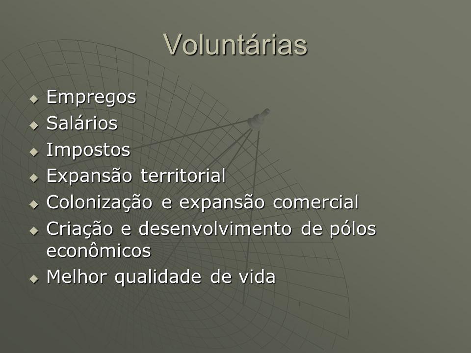 Voluntárias Empregos Empregos Salários Salários Impostos Impostos Expansão territorial Expansão territorial Colonização e expansão comercial Colonizaç
