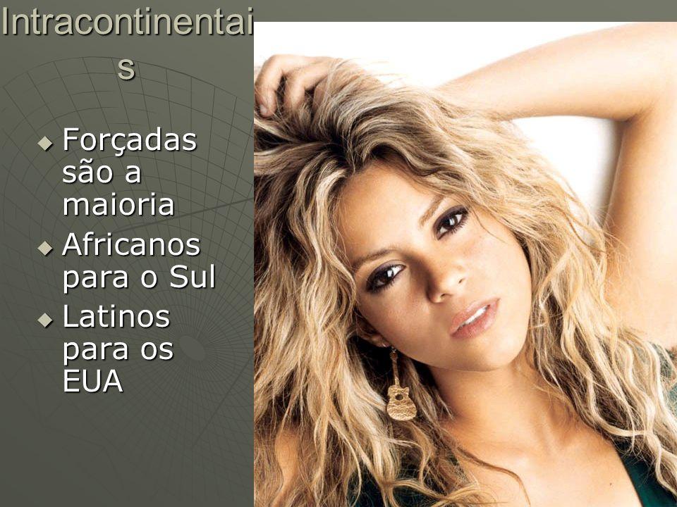Intracontinentai s Forçadas são a maioria Forçadas são a maioria Africanos para o Sul Africanos para o Sul Latinos para os EUA Latinos para os EUA