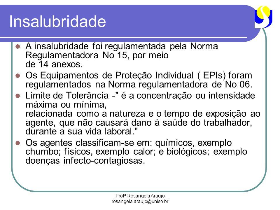 Profª Rosangela Araujo rosangela.araujo@uniso.br Insalubridade A insalubridade foi regulamentada pela Norma Regulamentadora No 15, por meio de 14 anex