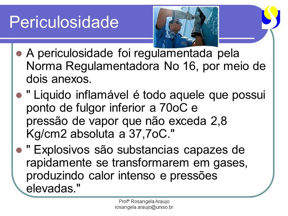 Profª Rosangela Araujo rosangela.araujo@uniso.br Periculosidade A periculosidade foi regulamentada pela Norma Regulamentadora No 16, por meio de dois