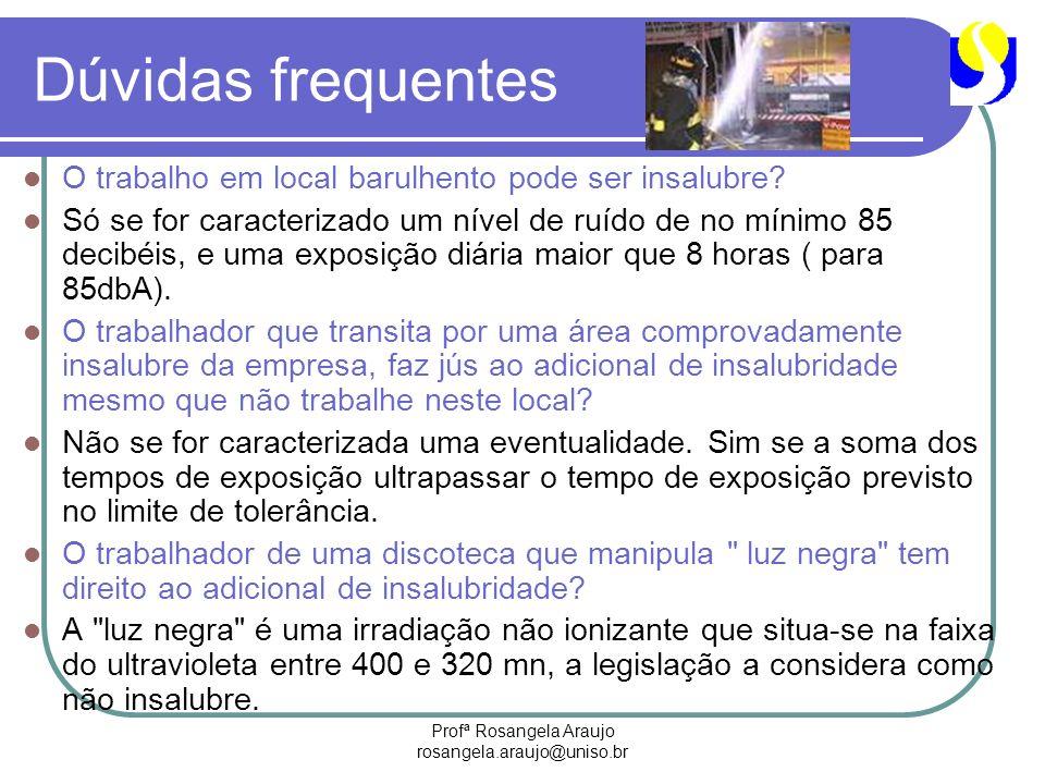 Profª Rosangela Araujo rosangela.araujo@uniso.br Dúvidas frequentes O trabalho em local barulhento pode ser insalubre? Só se for caracterizado um níve