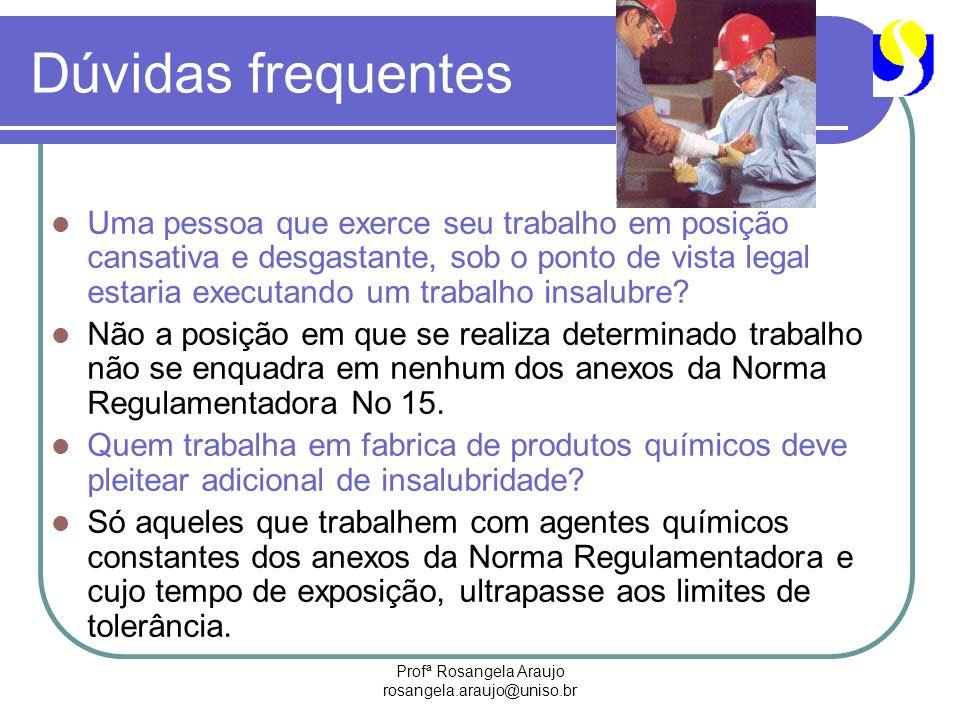 Profª Rosangela Araujo rosangela.araujo@uniso.br Dúvidas frequentes Uma pessoa que exerce seu trabalho em posição cansativa e desgastante, sob o ponto