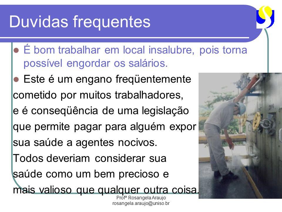 Profª Rosangela Araujo rosangela.araujo@uniso.br Duvidas frequentes É bom trabalhar em local insalubre, pois torna possível engordar os salários. Este