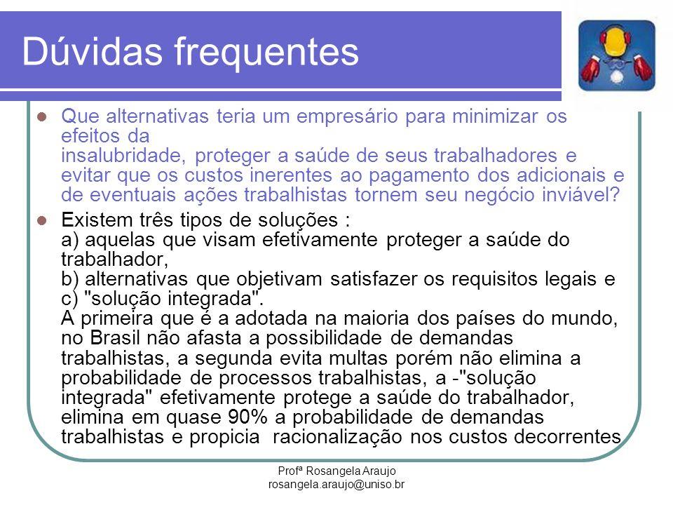 Profª Rosangela Araujo rosangela.araujo@uniso.br Dúvidas frequentes Que alternativas teria um empresário para minimizar os efeitos da insalubridade, p