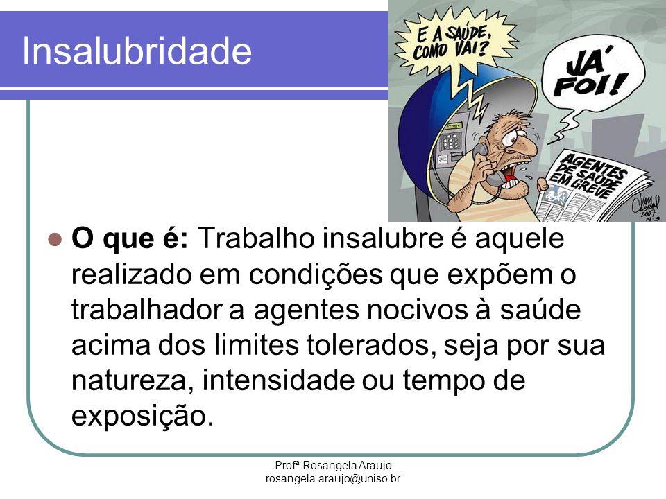 Profª Rosangela Araujo rosangela.araujo@uniso.br Insalubridade O que é: Trabalho insalubre é aquele realizado em condições que expõem o trabalhador a