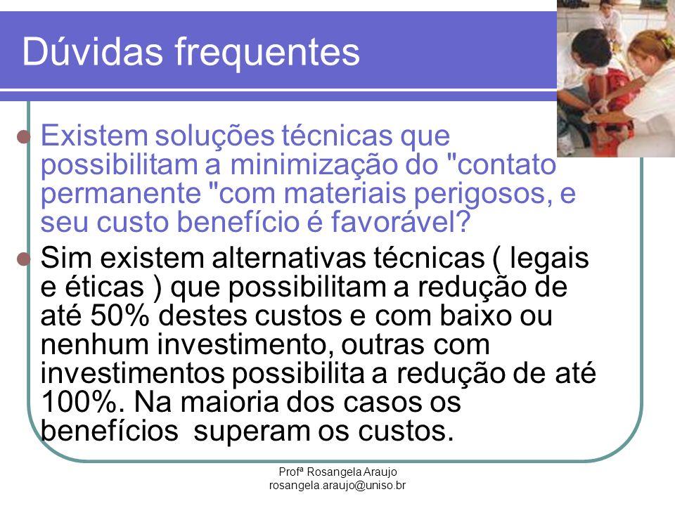 Profª Rosangela Araujo rosangela.araujo@uniso.br Dúvidas frequentes Existem soluções técnicas que possibilitam a minimização do