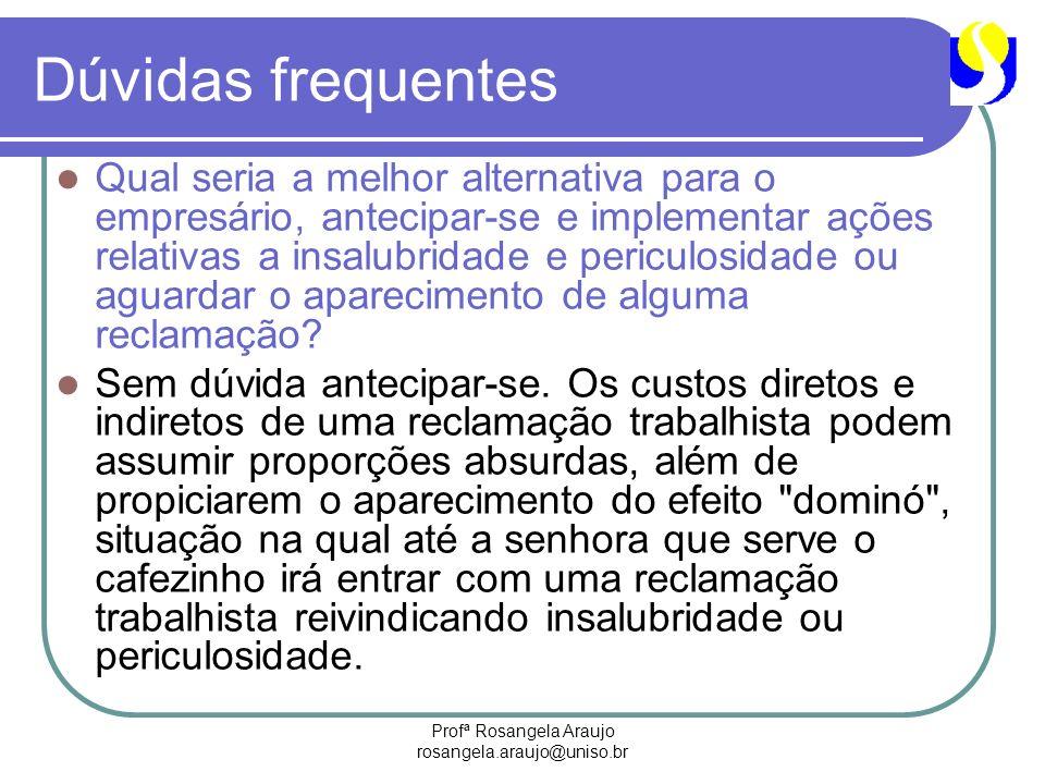 Profª Rosangela Araujo rosangela.araujo@uniso.br Dúvidas frequentes Qual seria a melhor alternativa para o empresário, antecipar-se e implementar açõe