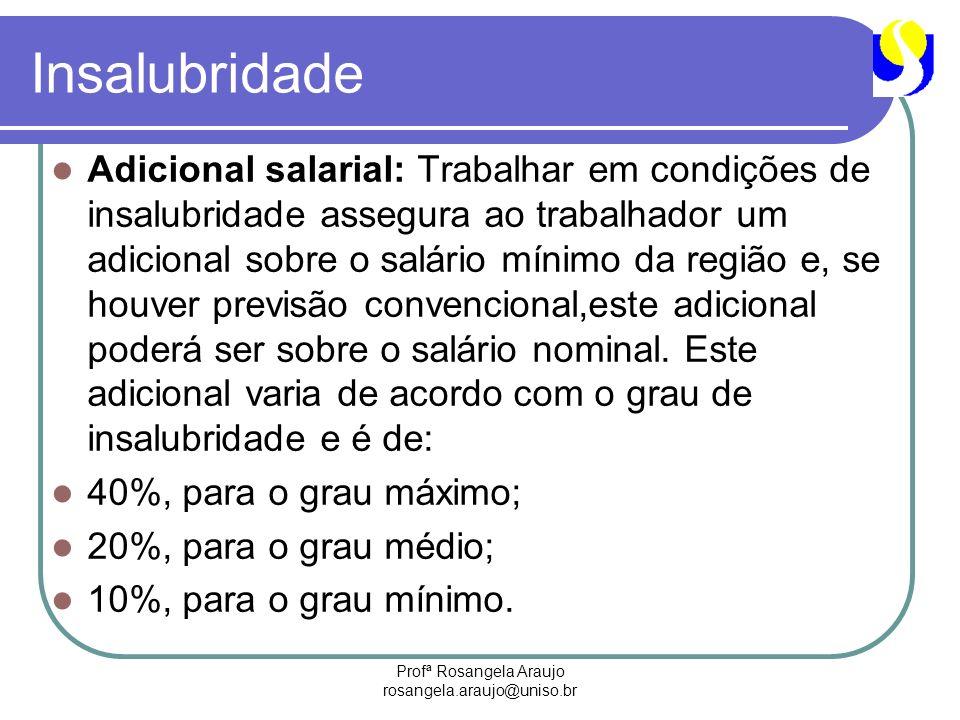 Profª Rosangela Araujo rosangela.araujo@uniso.br Insalubridade Adicional salarial: Trabalhar em condições de insalubridade assegura ao trabalhador um