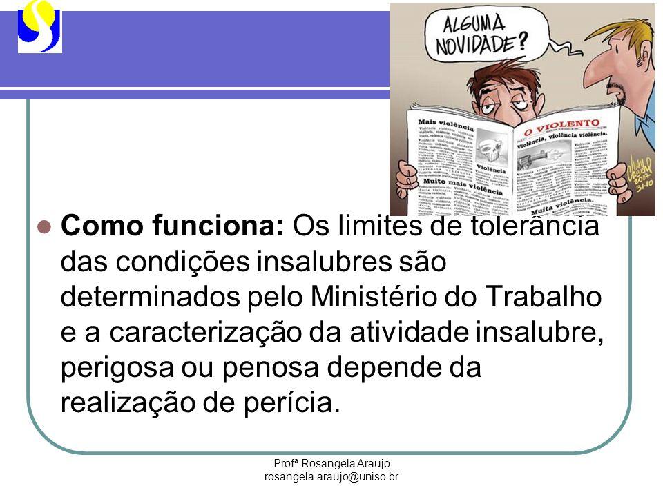 Profª Rosangela Araujo rosangela.araujo@uniso.br Como funciona: Os limites de tolerância das condições insalubres são determinados pelo Ministério do