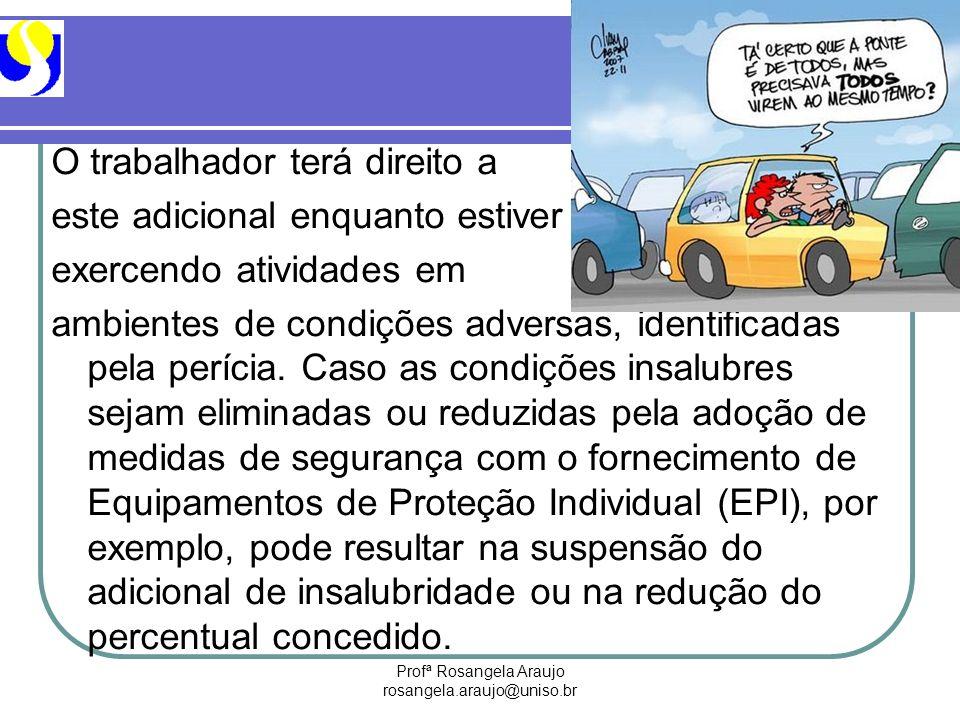 Profª Rosangela Araujo rosangela.araujo@uniso.br O trabalhador terá direito a este adicional enquanto estiver exercendo atividades em ambientes de con