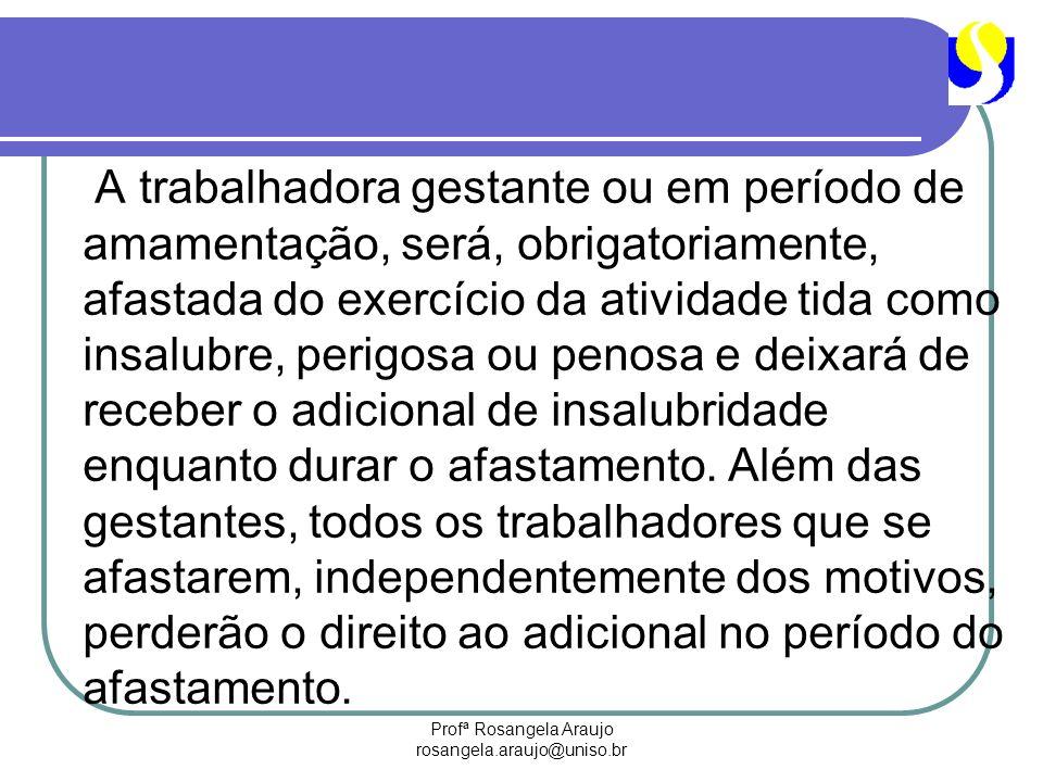 Profª Rosangela Araujo rosangela.araujo@uniso.br A trabalhadora gestante ou em período de amamentação, será, obrigatoriamente, afastada do exercício d