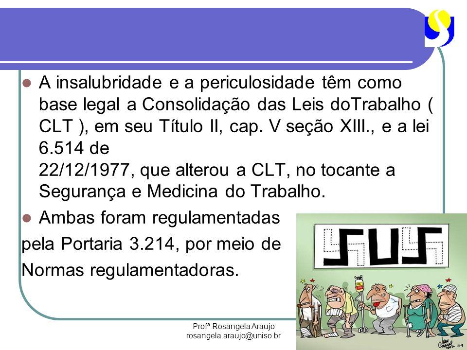 Profª Rosangela Araujo rosangela.araujo@uniso.br A insalubridade e a periculosidade têm como base legal a Consolidação das Leis doTrabalho ( CLT ), em