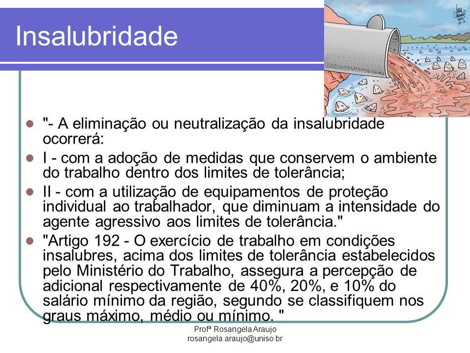 Profª Rosangela Araujo rosangela.araujo@uniso.br Insalubridade