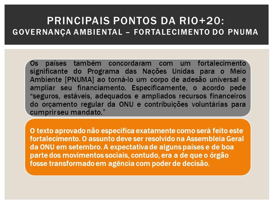 PRINCIPAIS PONTOS DA RIO+20: GOVERNANÇA AMBIENTAL – FORTALECIMENTO DO PNUMA Os países também concordaram com um fortalecimento significante do Program