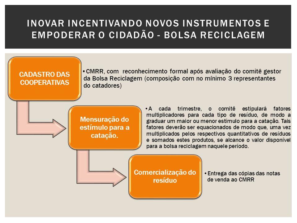 CADASTRO DAS COOPERATIVAS CMRR, com reconhecimento formal após avaliação do comitê gestor da Bolsa Reciclagem (composição com no mínimo 3 representant