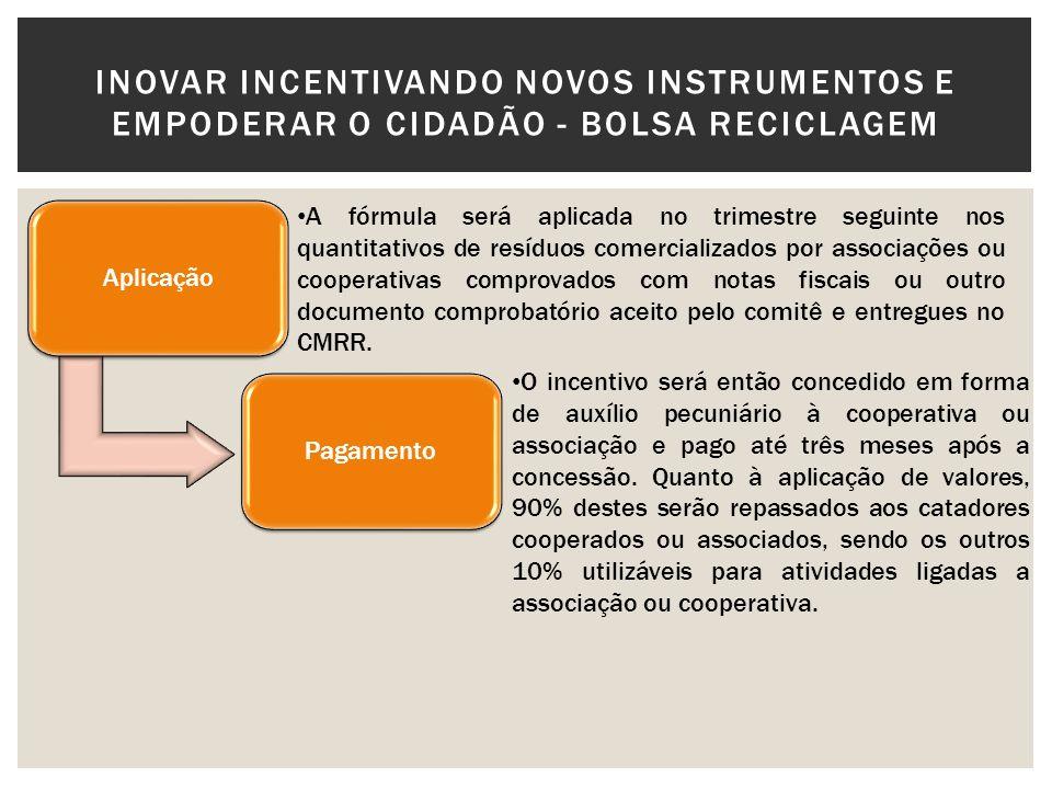 Aplicação A fórmula será aplicada no trimestre seguinte nos quantitativos de resíduos comercializados por associações ou cooperativas comprovados com