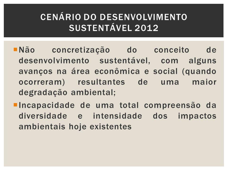 Não concretização do conceito de desenvolvimento sustentável, com alguns avanços na área econômica e social (quando ocorreram) resultantes de uma maio