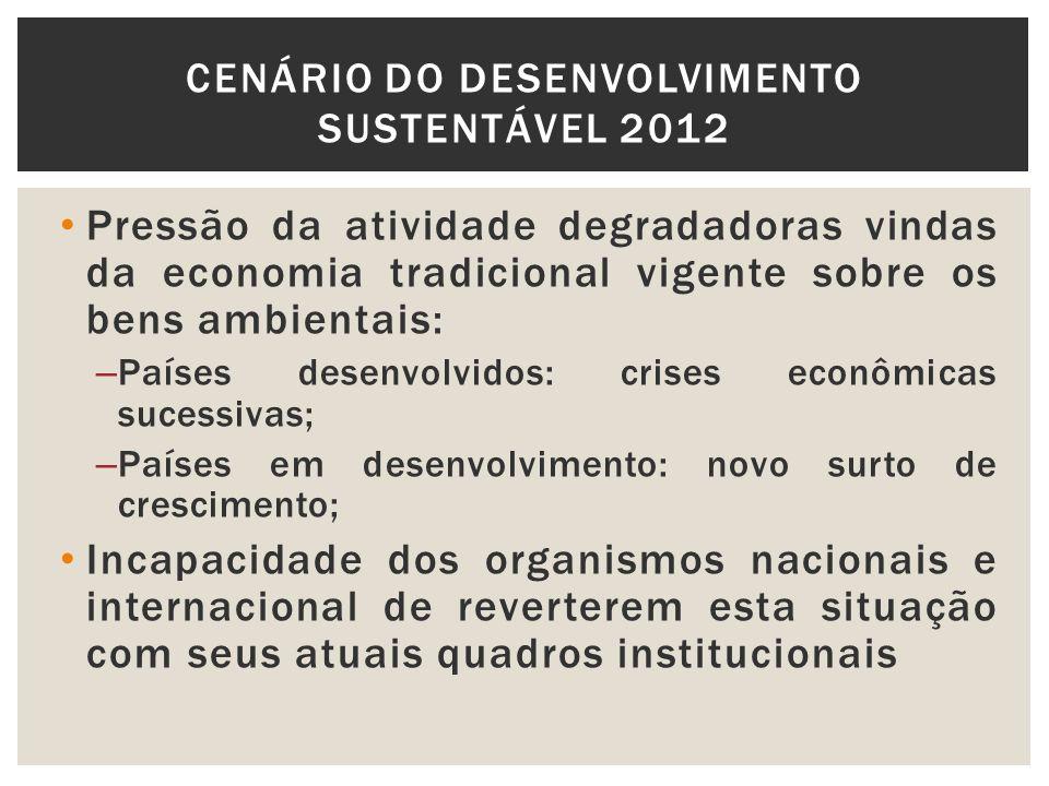 Pressão da atividade degradadoras vindas da economia tradicional vigente sobre os bens ambientais: – Países desenvolvidos: crises econômicas sucessiva
