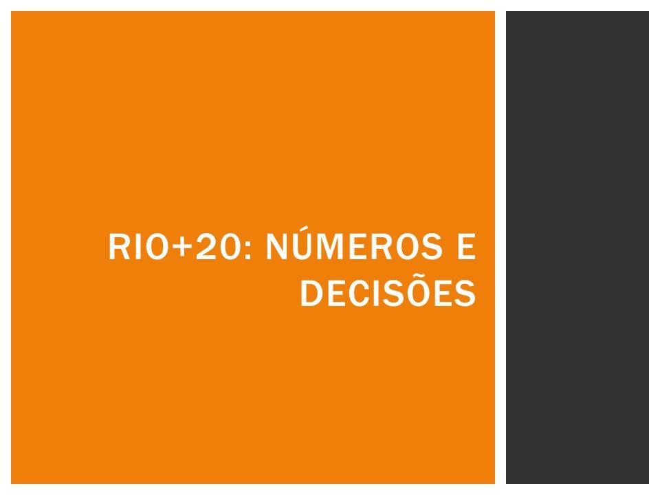 maior Conferência da ONU já realizada; mais de 500 eventos oficiais e paralelos no Centro de Convenções Riocentro Total de participantes: 45.381 Delegações de 188 Estados-Membros e três observadores + 100 Chefes de Estado e de Governo Delegados: aproximadamente 12.000 ONGs e Major Groups: 9.856 Mídia: 4.075 Credenciais para os dias dos Diálogos para a sociedade civil (16 a 19): 1.781 Pessoal de Segurança: 4.363 Cerca de 5.000 pessoas trabalharam no Riocentro diariamente.
