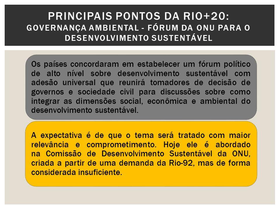 PRINCIPAIS PONTOS DA RIO+20: GOVERNANÇA AMBIENTAL – FORTALECIMENTO DO PNUMA Os países também concordaram com um fortalecimento significante do Programa das Nações Unidas para o Meio Ambiente [PNUMA] ao torná-lo um corpo de adesão universal e ampliar seu financiamento.