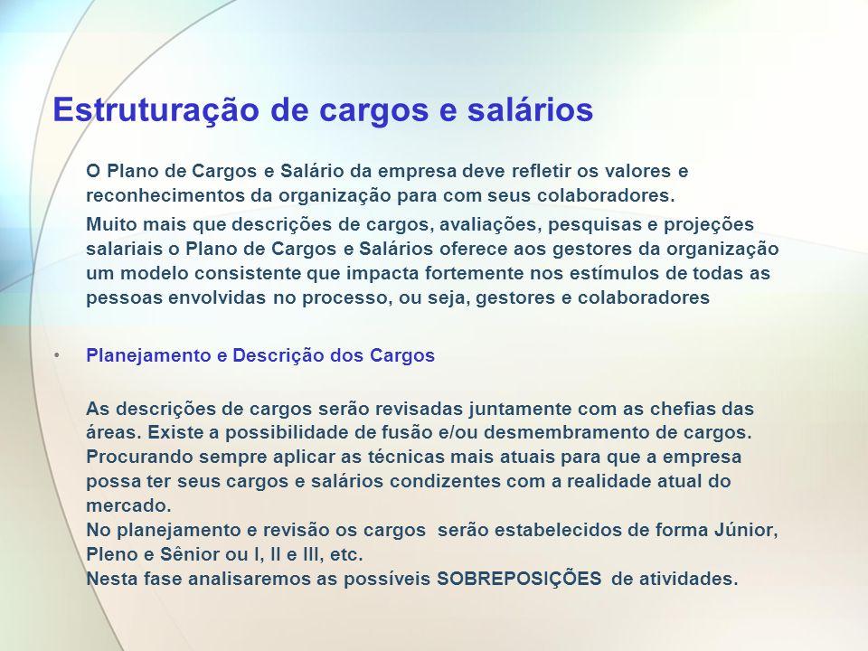 Estruturação de cargos e salários O Plano de Cargos e Salário da empresa deve refletir os valores e reconhecimentos da organização para com seus colab