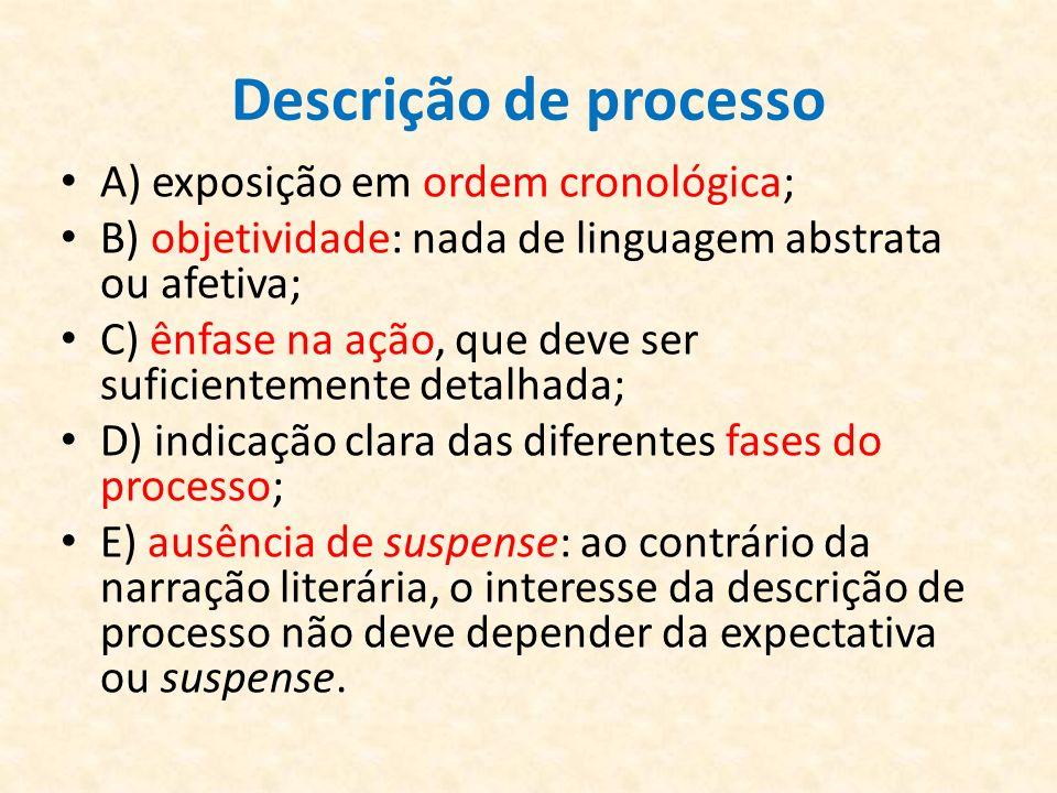 Descrição de processo A) exposição em ordem cronológica; B) objetividade: nada de linguagem abstrata ou afetiva; C) ênfase na ação, que deve ser sufic