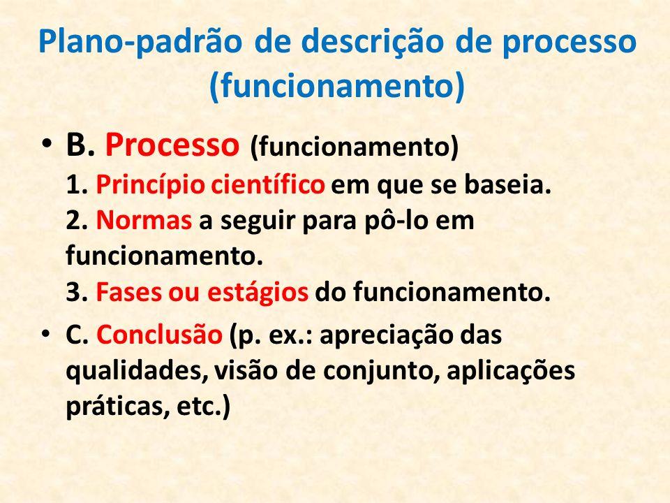 Plano-padrão de descrição de processo (funcionamento) B. Processo (funcionamento) 1. Princípio científico em que se baseia. 2. Normas a seguir para pô