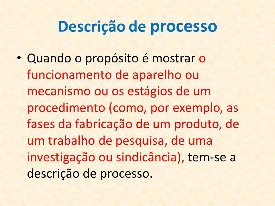 Descrição de processo Quando o propósito é mostrar o funcionamento de aparelho ou mecanismo ou os estágios de um procedimento (como, por exemplo, as f