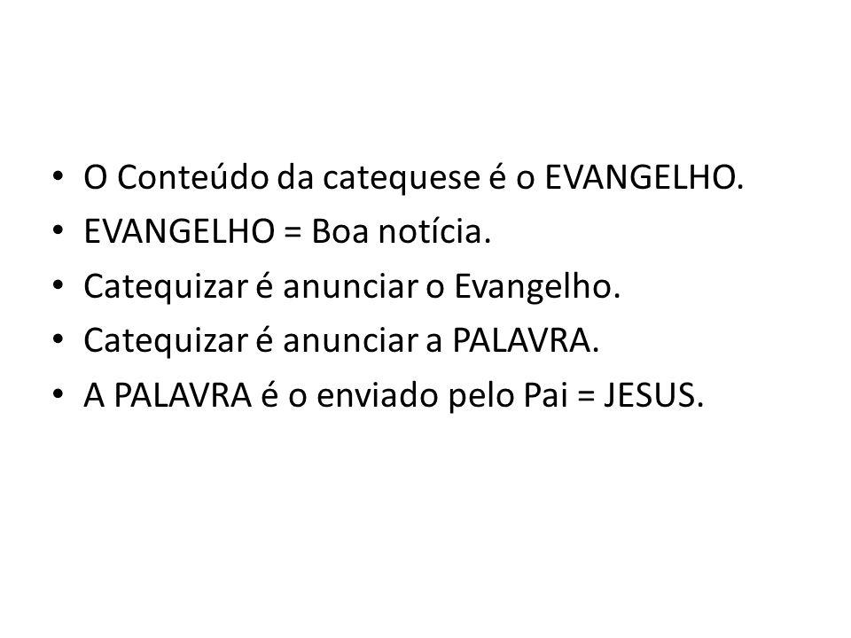 O Conteúdo da catequese é o EVANGELHO. EVANGELHO = Boa notícia. Catequizar é anunciar o Evangelho. Catequizar é anunciar a PALAVRA. A PALAVRA é o envi