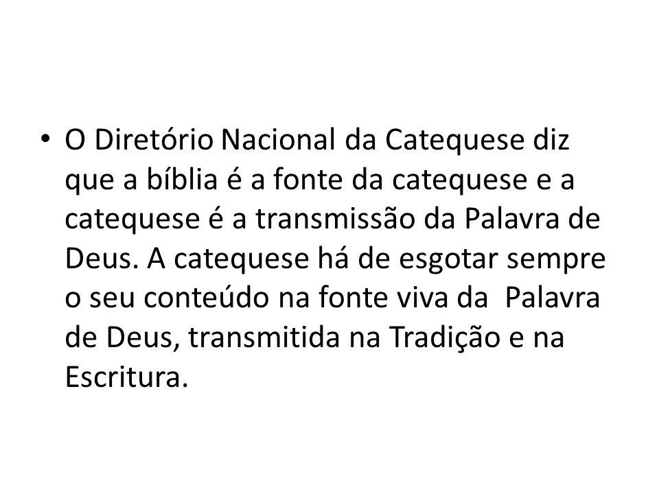 O Diretório Nacional da Catequese diz que a bíblia é a fonte da catequese e a catequese é a transmissão da Palavra de Deus. A catequese há de esgotar