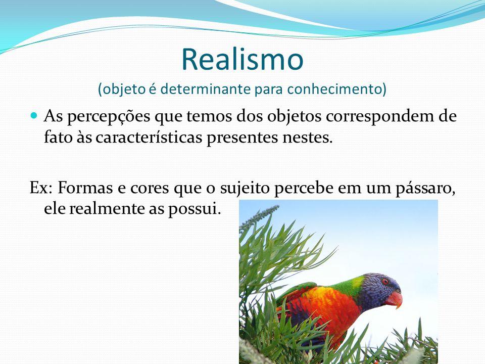 Realismo (objeto é determinante para conhecimento) As percepções que temos dos objetos correspondem de fato às características presentes nestes.
