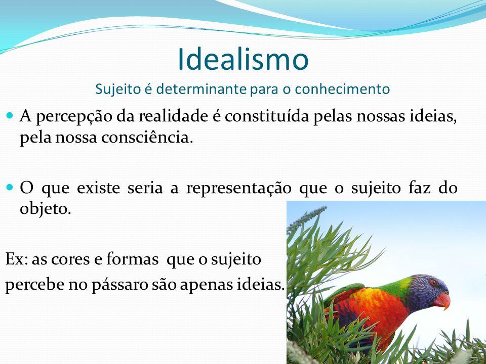 Idealismo Sujeito é determinante para o conhecimento A percepção da realidade é constituída pelas nossas ideias, pela nossa consciência.